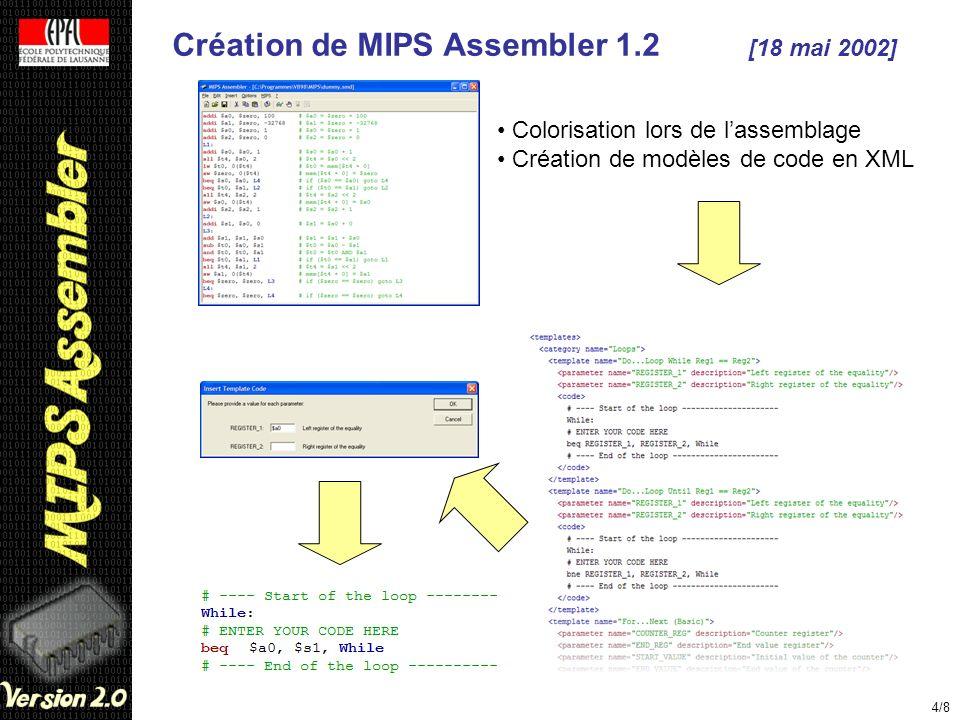 Création de MIPS Assembler 1.2 [18 mai 2002]